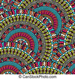 カラフルである, 装飾, pattern., seamless, ベクトル, ラウンド, 民族性