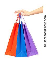 カラフルである, 買い物袋, セット, 中に, 女性の手, 隔離された, 白