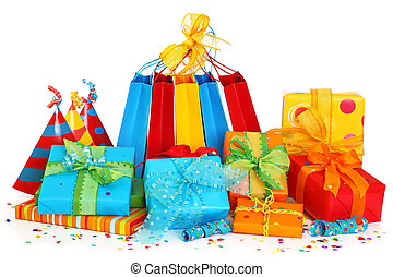 カラフルである, 贈り物の箱, そして, パーティー帽子