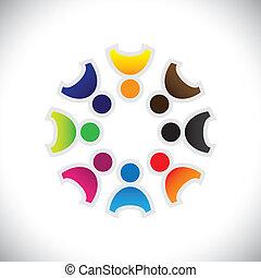 カラフルである, 遊び, 概念, 共同体, 遊び, 友情, 従業員, 楽しみ, ショー, ベクトル, 子供, &, 共用体, 多様性, 共有, icons(symbols)., 子供, 労働者, イラスト, graphic-, 情事, のように, 概念, ∥など∥