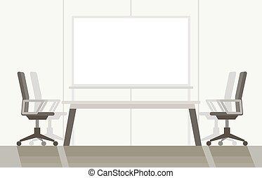 カラフルである, 部屋, ベクトル, 現代, 平ら, board., illustration., 白, 会議, 背景