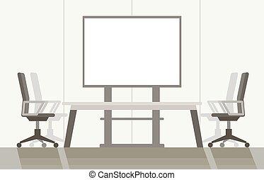 カラフルである, 部屋, ベクトル, 現代, 平ら, system., 遠隔地間会議, illustration., 会議, 背景