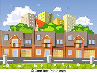 カラフルである, 都市, 抽象的, イラスト, ベクトル, 建物。, 横列