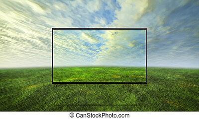 カラフルである, 野生, 概念, の, tv, 背景