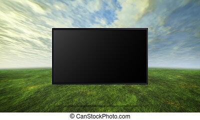 カラフルである, 野生, 概念, の, tv, 黒