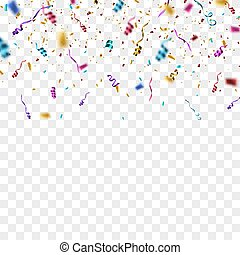 カラフルである, 隔離された, バックグラウンド。, 明るい, 紙ふぶき, 透明