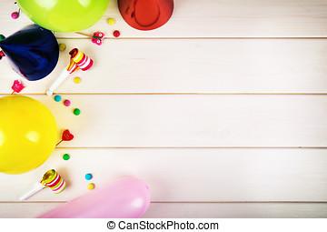 カラフルである, 項目, 上, space., 誕生日パーティー, コピー, 光景