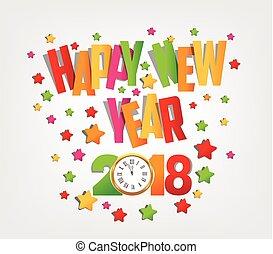 カラフルである, 2018, 背景, 年, 新しい, 幸せ