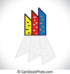 カラフルである, apartments-, 特性, また, 住宅の, 他, グラフィック, シンボル。, 建物, ...