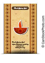 カラフルである, diwali, 幸せ, カード, 背景, 流行, 挨拶, ベクトル