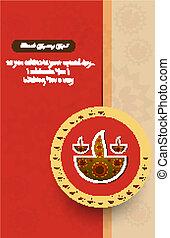 カラフルである, diwali, 幸せ, カード, 背景, 流行, 挨拶
