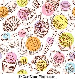 カラフルである, dots., パターン, 概説された, 分類される, desserts., seamless, ベクトル, ポルカ