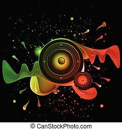カラフルである, elements., クラブ, ポスター, ディスコ, バックグラウンド。, 理想, フライヤ, 音楽