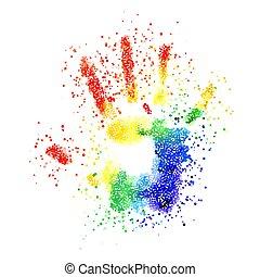 カラフルである, handprint