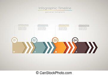 カラフルである, infographic, タイムライン, -, 印刷である, テンプレート, ライト, レポート, version.