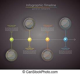 カラフルである, infographic, タイムライン, -, 印刷である, 暗い, テンプレート, レポート, version.