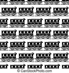 カラフルである, locomotives., 蒸気, 背景, seamless