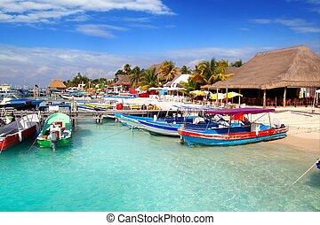 カラフルである, mujeres, メキシコ\, 島, ドック, isla, 桟橋, 港