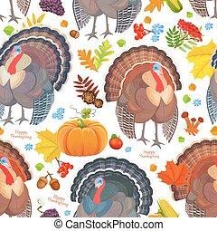 カラフルである, seamless, パターン, ∥で∥, かわいい, turkeys., 幸せ, 感謝祭