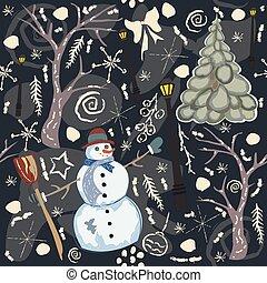 カラフルである, seamless, 冬, パターン, ∥で∥, かわいい, 雪だるま