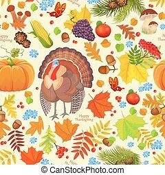 カラフルである, seamless, 手ざわり, ∥で∥, 秋, 要素, そして, a, turkey., hap