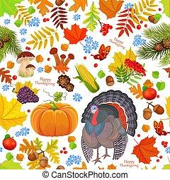 カラフルである, seamless, 手ざわり, ∥で∥, 秋, 要素, そして, turkey., 幸せ