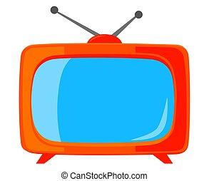 カラフルである, tv, 型, 隔離された, 白, 漫画