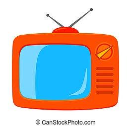 カラフルである, tv, 隔離された, レトロ, 白, 漫画