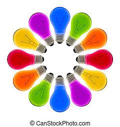 カラフルなライト, 作成しなさい, 形, 電球, 円