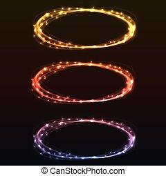カラフルなライト, 抽象的, リング, デザイン, element., 白熱