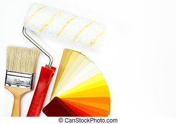 カラーの絵, サンプル, 内部, 仕事, 道具