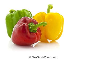 カラードの背景, 隔離された, (pepper), パプリカ, 白