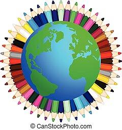 カラードの鉛筆, 世界 中
