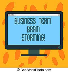 カラー写真, 脳, コンピュータ, ブランク, 執筆, メモ, グループ, モニター, 仕事, デスクトップ, storming., 進歩, ミーティング, 提示, ビジネス, スクリーン, 増した, bar., 仕事のチーム, showcasing, 企業である