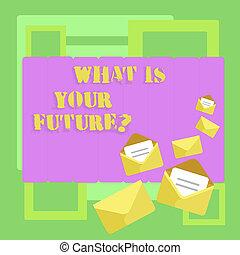 カラー写真, futurequestion., 年, 見なさい、, 執筆, 開いた, あなたの, 何か, 次に, stationery., 封筒, テキスト, 概念, あなた, 閉じられた, ビジネス, 提示, 手, 手紙, あなた自身, どこ(で・に)か