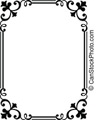 カリグラフィー, 筆跡, 巻き毛, バロック式, フレーム, 黒