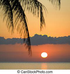 カリブ海, キューバ, 上に, la, gorda, pinar, リオ, del, 海, 日没, 州, マリア