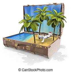 カリブ海, 旅行, destinations., 人々。, 島, 3d, 白