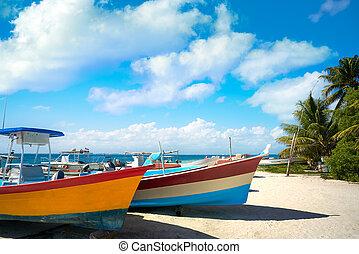 カリブ海, mujeres, メキシコ\, 島, isla, 浜