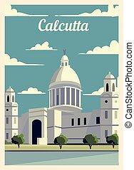 カルカッタ, レトロ, illustration., skyline., ポスター, ベクトル, 都市, 型