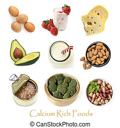カルシウム, 食物, 白, 隔離された, 豊富