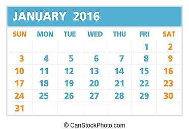 カレンダー, の, 2016, 1 月