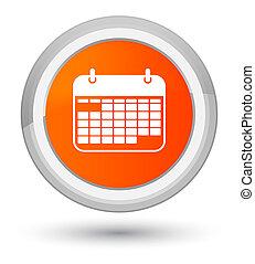 カレンダー, アイコン, 全盛, オレンジ, ラウンド, ボタン