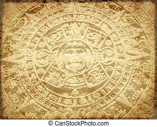 カレンダー, グランジ, 背景, aztec
