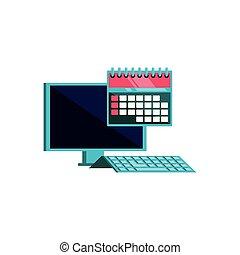 カレンダー, コンピュータ, メモ, デスクトップ