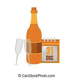 カレンダー, シャンペンの びん, カップ, 年, 新しい