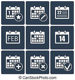 カレンダー, セット, アイコン