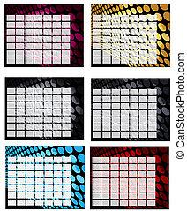 カレンダー, セット, 格子バックグラウンド, ブランク