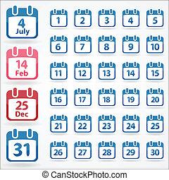 カレンダー, セット, 毎日, アイコン