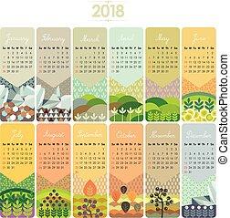 カレンダー, セット, 2018
